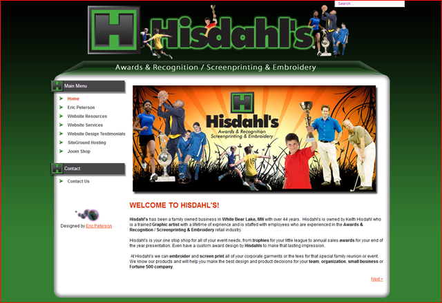 Hisdahl's Embroidery, White Bear Lake, MN  55110  Joomla website designed by Eric Peterson