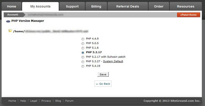 PHP Version Manager in cPanel hosting fixes JoomDoc error messages on Joomla 1.5