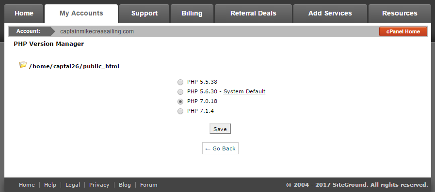 PHP Version Manager on cPanel hosting
