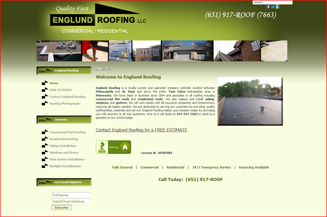 Englund Roofing recommends Eric Peterson for Web Design
