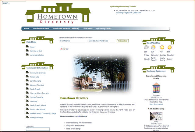 Hometown Directory recommends Eric Peterson for Website Design