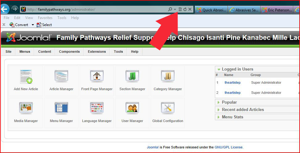 Internet Explorer 9 and Joomla 1.5 Administration Compatibility Solution